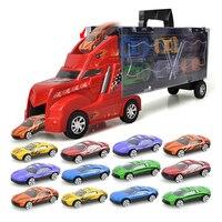 1 Pcs Car Truck 12 Pcs Sedan Car Model Alloy Big Truck Cargo Metal Car Plastic