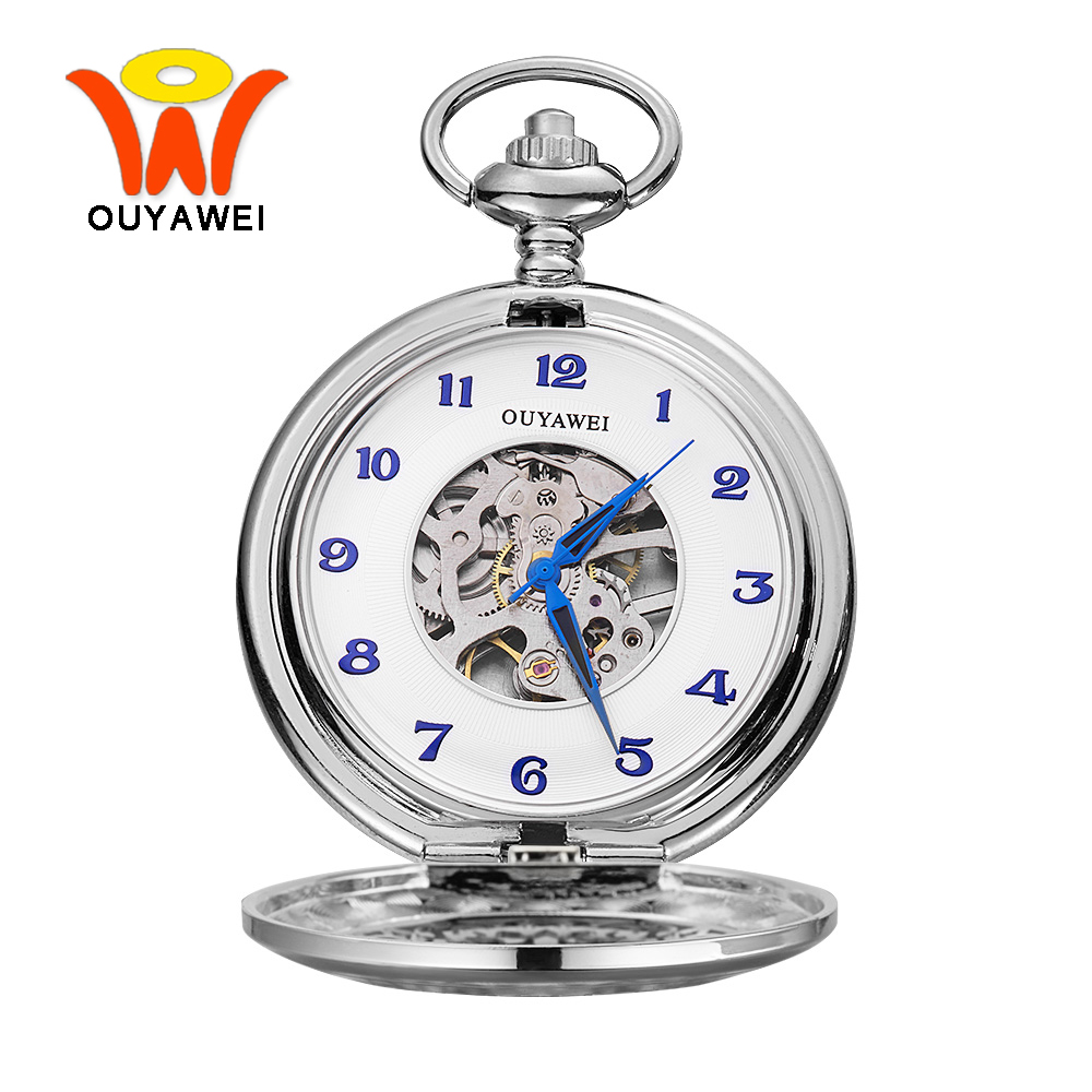 Ouyawei Vintage Skeleton Silver Mechanical Pocket Watch With Chain Men Blue Hands Hand Wind Clock Necklace Pocket & Fob Watches цена и фото