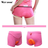 WEST BIKING Women Cycling Underwear Pink Underpant Bicycle Bike Sports Style Comfortable Outdoor Clothing M-2XL Size Underwear
