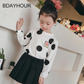Dot Printed Long Sleeve Round Collar Retro Fashion Cotton Girl Casual T-Shirt2017Kids Spring New Girls Casual T-Shirts 5-15Years