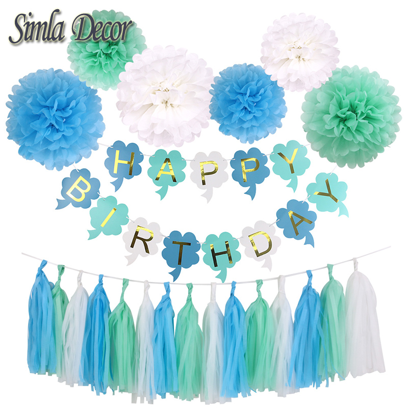 Baby Shower Birthday Decor Blue Tissue Paper Tassels Pompoms Boy Girl Happy Birthday Banner Kids Favors Party Supplies