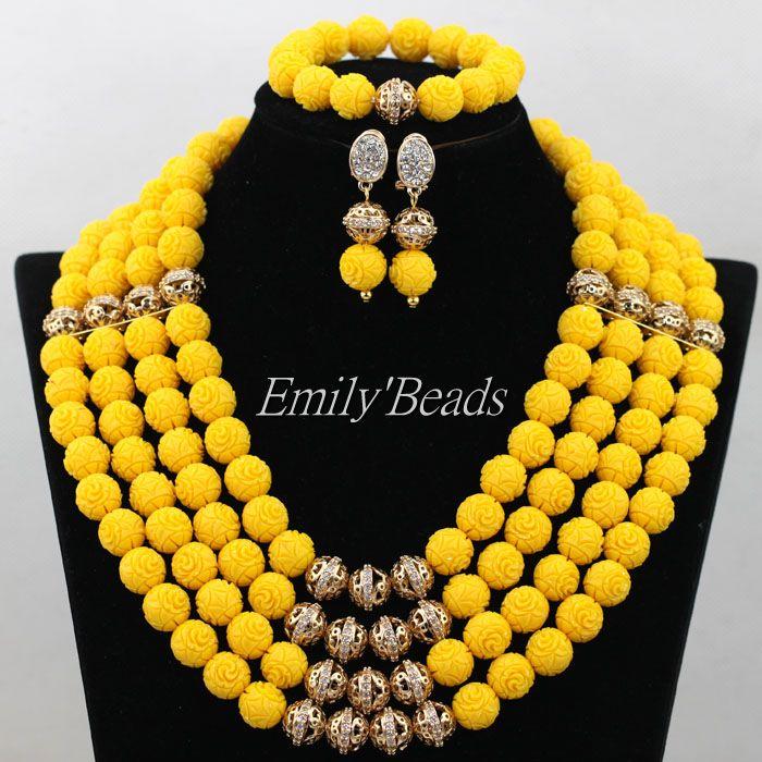 Nigérian mariage nuptiale bijoux ensemble 2016 nouveau Design jaune africain artificiel corail perlé bijoux ensemble livraison gratuite CJ533