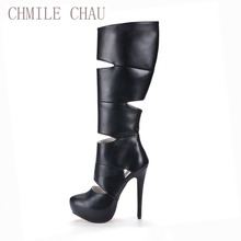 2016 Winter Sexy Party Shoes Women Stiletto High Heels Ladies Knee-High Boots Zapatos Mujer 3463BT-g1