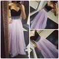 2015 nova preto lilás vestidos de noite longo A linha Bead Tulle Formal vestidos querida partido vestido tamanho personalizado