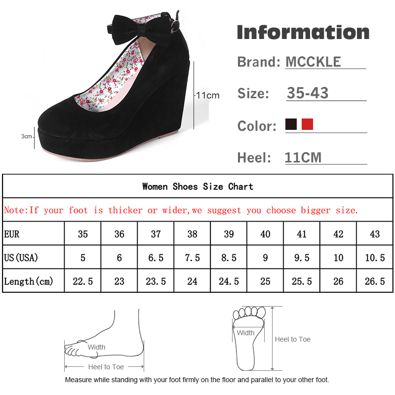 Image 5 - MCCKLE Women High Heels Shoes Plus Size Platform Wedges Female Pumps Women's Flock Buckle Bowtie Ankle Strap Woman Wedding Shoes-in Women's Pumps from Shoes