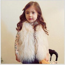 Furry Autumn Winter Baby Girls Faux Fur Waistcoat Warm Jacket Snowsuit Outerwear Children Kids Clothes Wool Fur Overcoat F238(China)