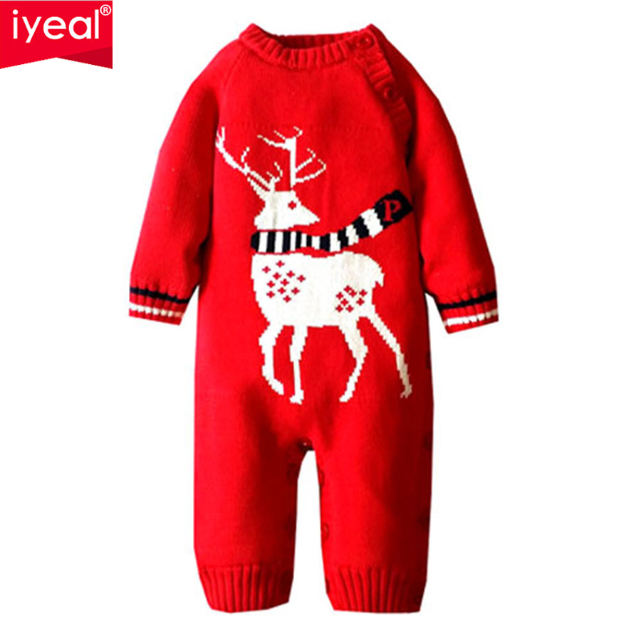 IYEAL Winter Baby Rompers Thick Baby Clothes Newborn Boys Girls Warm Romper Knitted Sweater Christmas Deer Hooded Outwear iyeal winter baby rompers thick baby clothes newborn boys girls warm romper knitted sweater christmas deer hooded outwear