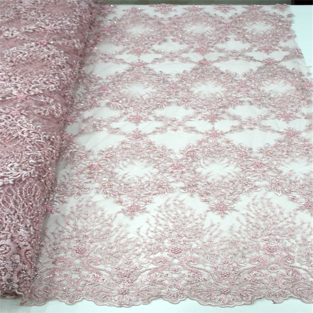 3D Applique African Lace Fabric, Beautiful Pink Embroidered Tulle Lace Fabric, Handmade Beaded Heavy Lace H485 2