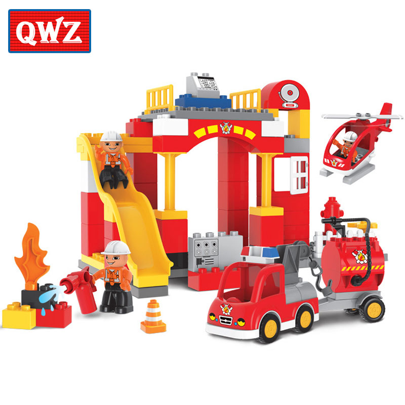 QWZ 76pcs City Fire Station Fire Engine Large Size Building Blocks Fireman Figures Large Particle Compatible Duplo For Baby Toys цена 2017