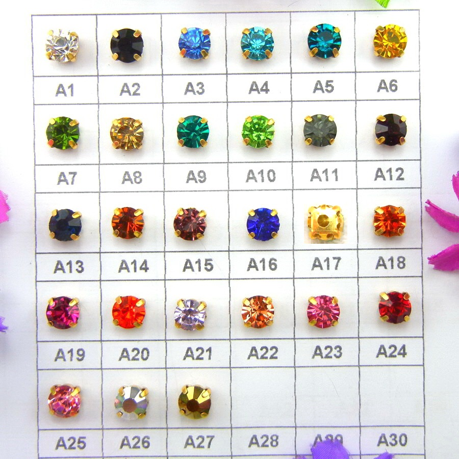 Colorful glass Crystal Gold claw settings 3mm 4mm 5mm 6mm 7mm 8mm Fancy colors Round shape Sew on rhinestone beads garment diy