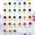 De vidrio de colores de cristal de oro de la configuración de 3mm 4mm 5mm 6mm 7mm 8mm lujo de colores forma redonda coser en cuentas de diamantes de imitación de diy
