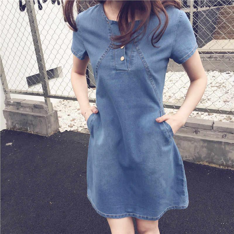 Горячее негабаритное женское джинсовое платье 2018 новое летнее свободное джинсовое платье с коротким рукавом повседневное джинсовое платье А-силуэта женское плюс размер S-5XL