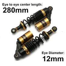 Universal 11 280mm Motorcycle Air Shock Absorber Rear Suspension For Yamaha Motor Scooter ATV Quad Gold Yellow D25 universal 12 5 320mm motorcycle air shock absorber rear suspension for yamaha motor scooter atv quad black blue silver red