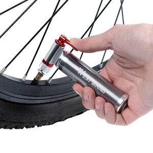 Image 5 - WEST Cycling pompe de vélo Portable en alliage daluminium ultralégère, gonfleur de CO2, Schrader et Presta