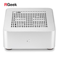 [Top Cover with Holes] RGEEK Mini ITX Computer PC Cases Desktop HTPC Aluminum Case Chassis Mini PC Case with 200W Power Supply
