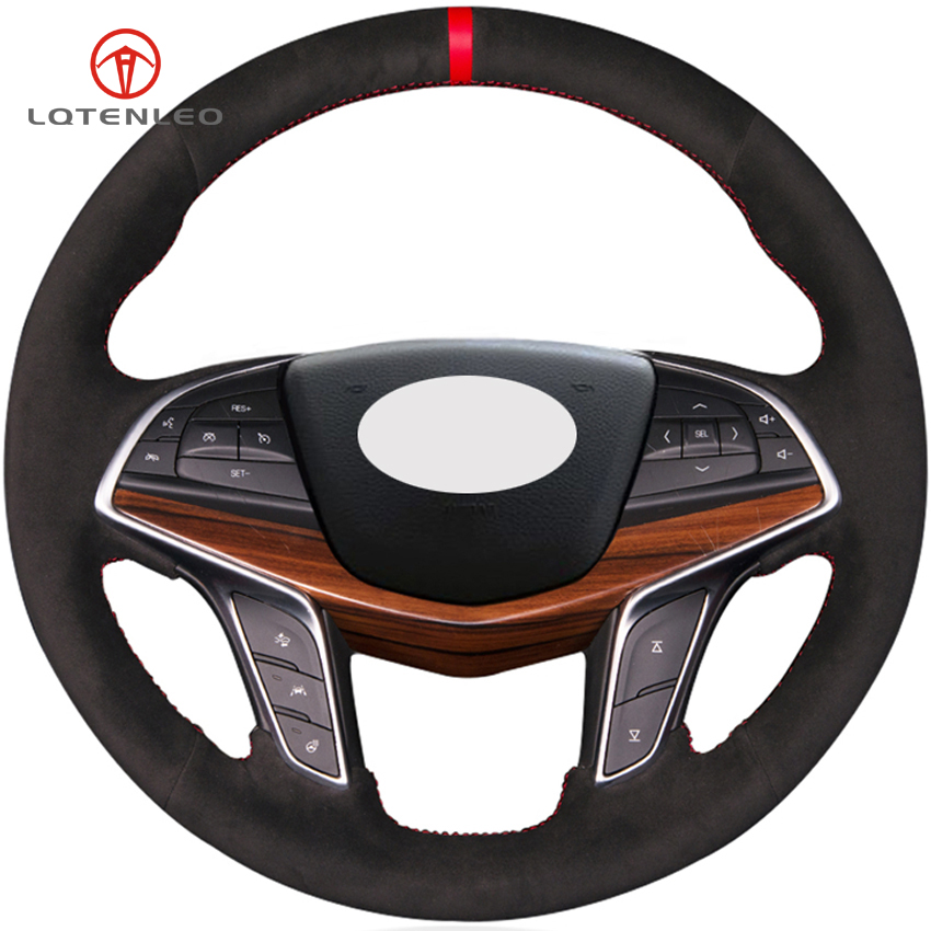 2019 Cadillac Ct6 Interior Colors: LQTENLEO Black Suede DIY Hand Stitched Car Steering Wheel