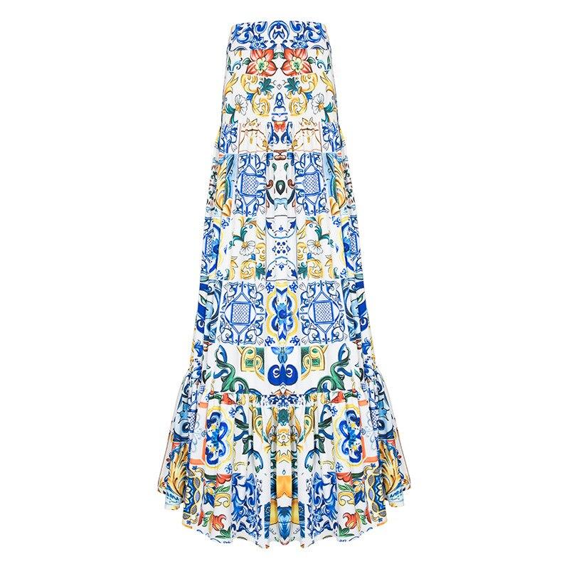 Haute qualité 2019 nouvelle mode été longue jupe femmes élégant bleu et blanc porcelaine imprimé bohème décontracté Maxi jupe
