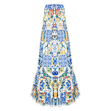 High quality 2019 new fashion summer long skirt Women's elegant blue and white porcelain print bohemian casual Maxi skirt(China)