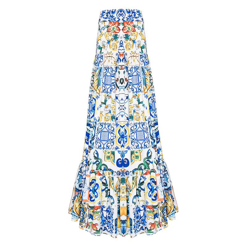 High Quality 2020 New Fashion Summer Long Skirt Women's Elegant Blue And White Porcelain Print Bohemian Casual Maxi Skirt