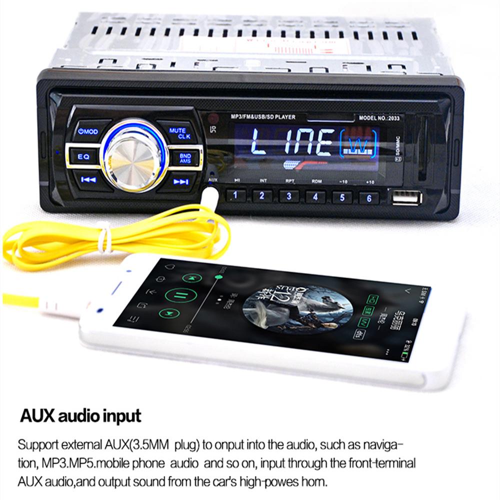 Prix pour Haute Qualité 2033 De Voiture Radio Audio Stéréo Soutien FM SD MP3 lecteur AUX-IN USB avec 12 V Télécommande pour Véhicule Audio Radio