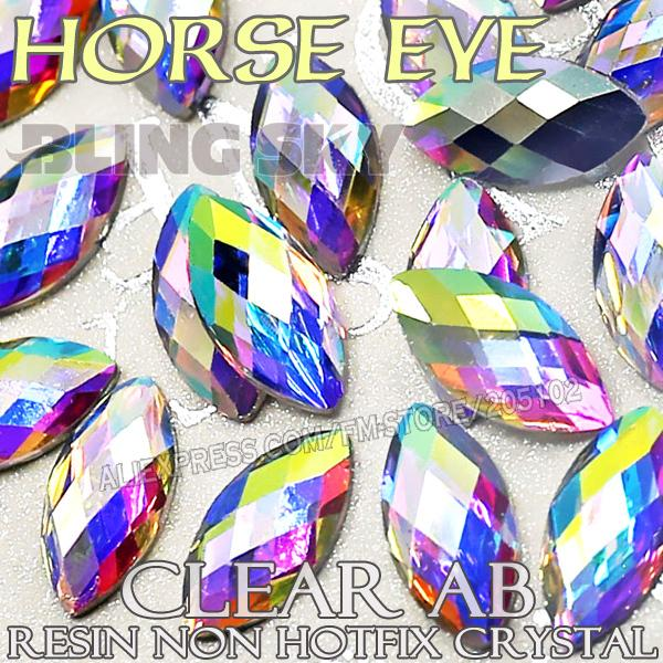 3x6 4x8 6x12mm Nail Art Rhinestones Clear AB Horse Eye Resin Crystals No Hotfix Flatback piedras brilla para 3D Nails Stones