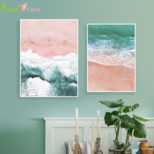 цены на Abstract Pink Beach Wall Art Canvas Painting Blue Sea Nordic Posters And Prints Wall Pictures For Living Room Picture Unframed  в интернет-магазинах