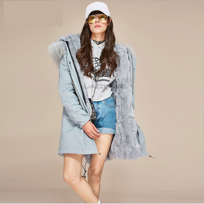 New Fashion women's Large Raccoon Fur Collar Outwear Midi Long Hooded Military Coat Real Rabbit Fur Lining Winter Warm Pakas 2017 winter new clothes to overcome the coat of women in the long reed rabbit hair fur fur coat fox raccoon fur collar