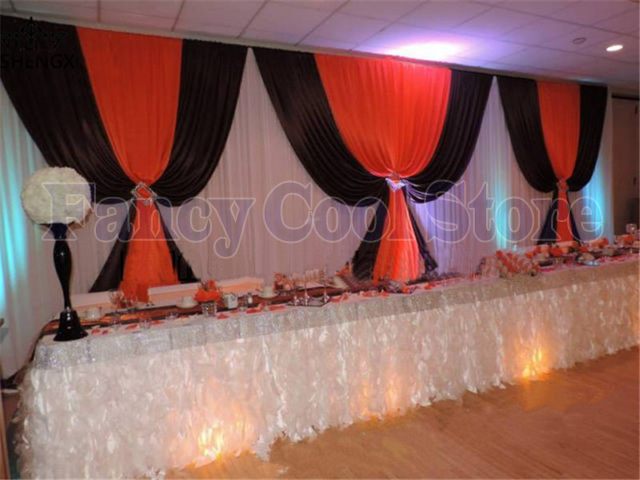 3m X 6m White Wedding Backdrop With Black Red Swags Wedding