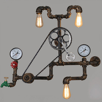 Vintage retro loft industrial light personality gear wall lamps water pipe Restaurant Bar pub Cafe aisle bedroom bra wall sconce