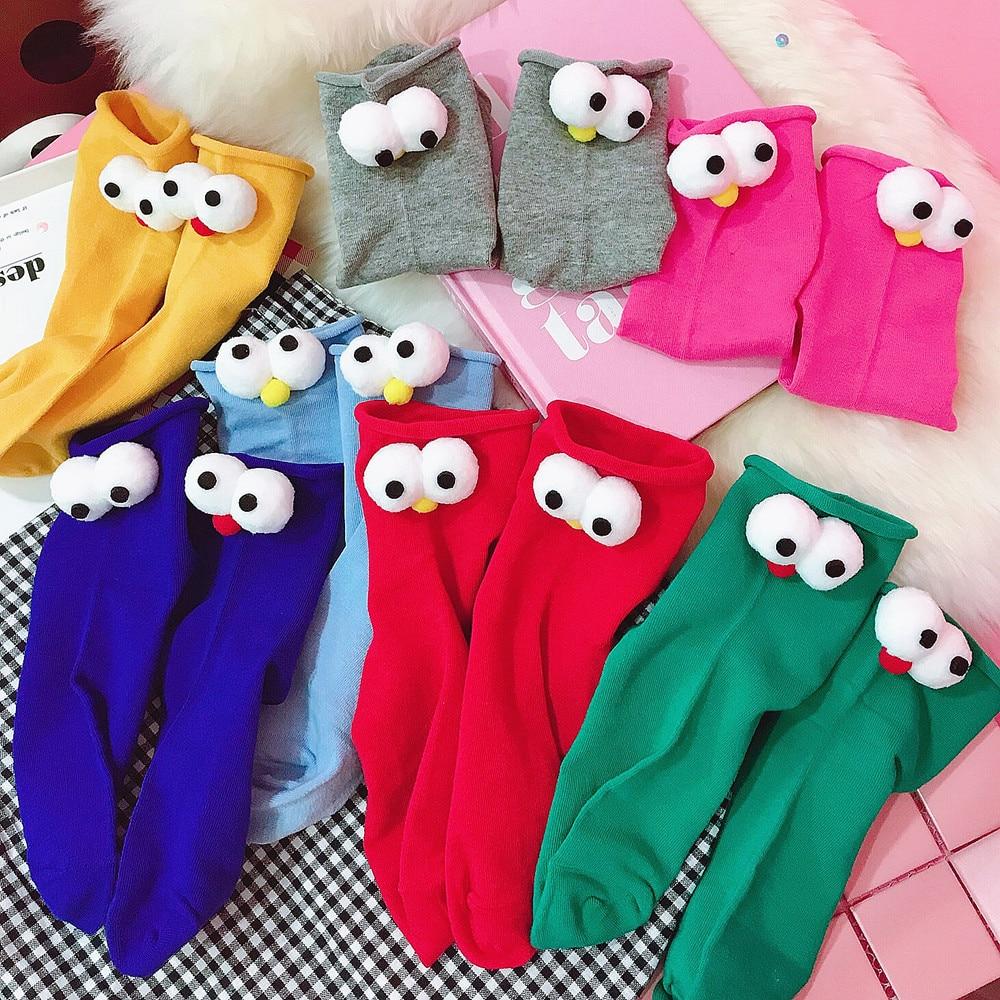 Hot Cute Interesting Cartoon Girl Three-dimensional Big Eyes Women Socks Autumn Cotton Warm Casual Heap Heap Socks