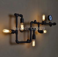 Retro Water Pipe Wall Lamp Vintage Aisle Lights Loft Iron Black Rust Brown Color Rural Restoring