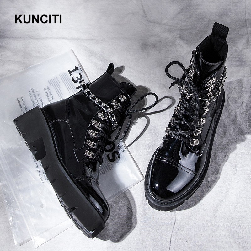 2019 KUNCITI Women Luxury Leather Boots Lace Up Fashion Chain Shoes Med Heel Studded Leather Shoes