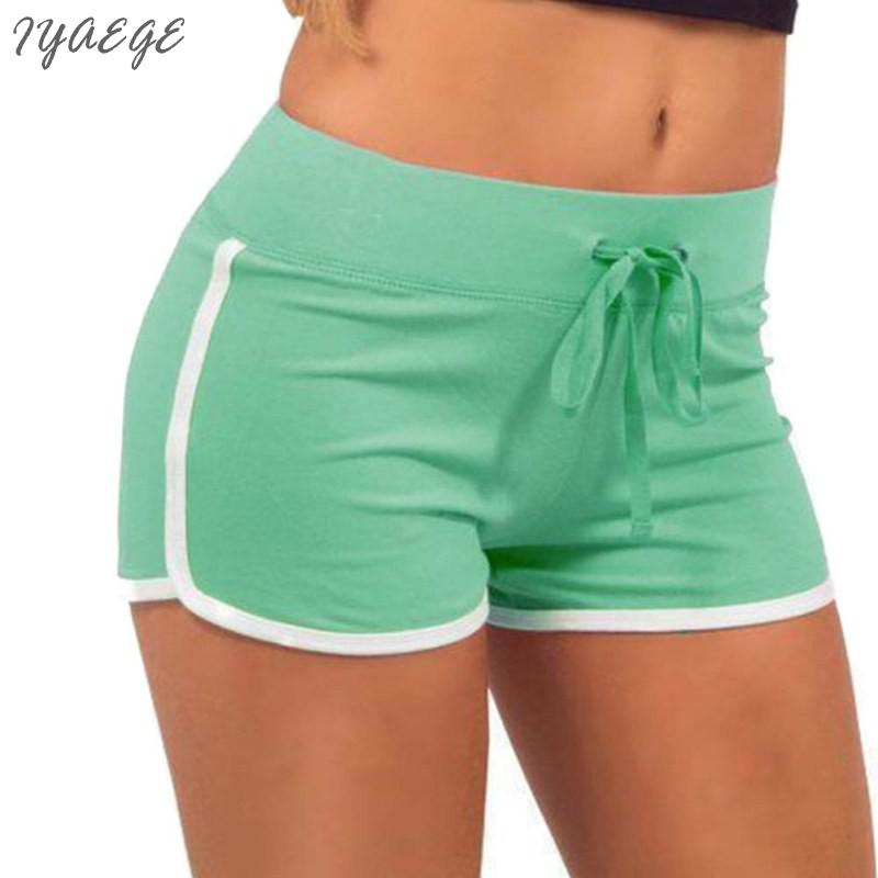 edf2560efc2564 € 6.05 16% de réduction Sportwear rayé Mini Shorts pour femmes Fitness  lâche court taille élastique Femme plage Femme Sexy poches Split Shorts ...