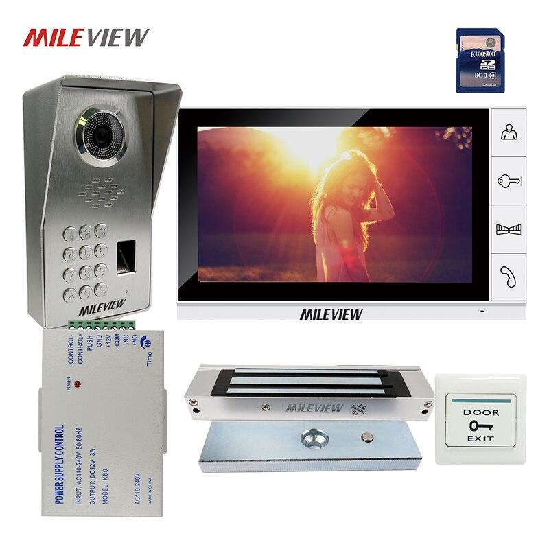 8g Sd E-lock Free Shipping New 7 Door Monitor Video Intercom Door Phone Recorder System 2 Monitors Waterproof Rain Cover