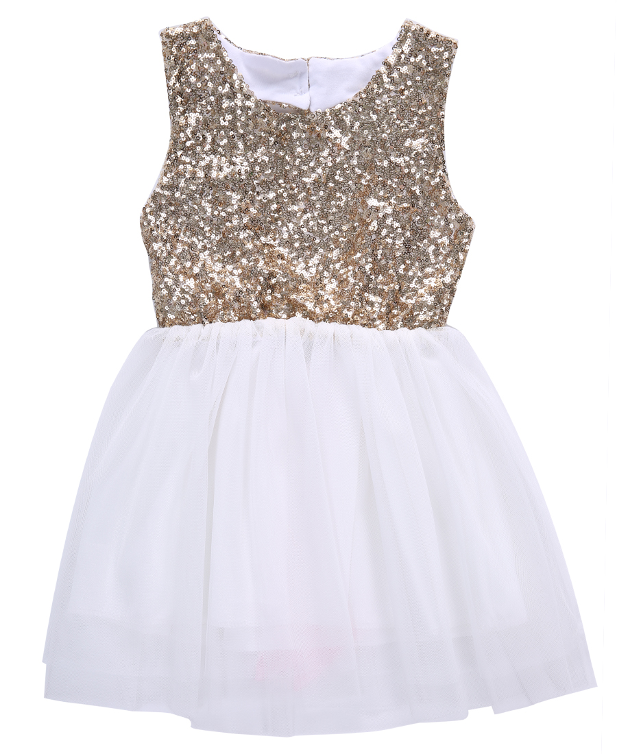 Summer Baby Sleeveless Dress Kids Sequins Baby Flower Girl Dress Bow