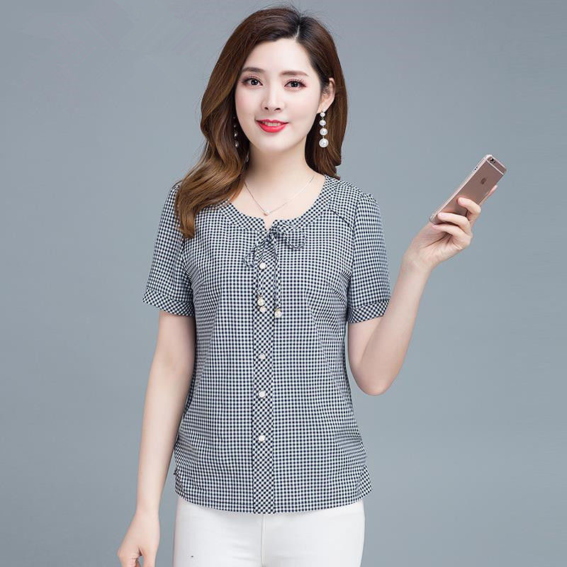 Women Spring Summer Style Chiffon   Blouses     Shirts   Lady Casual Striped Peter Pan Collar Short Sleeve Blusas Tops DF2642
