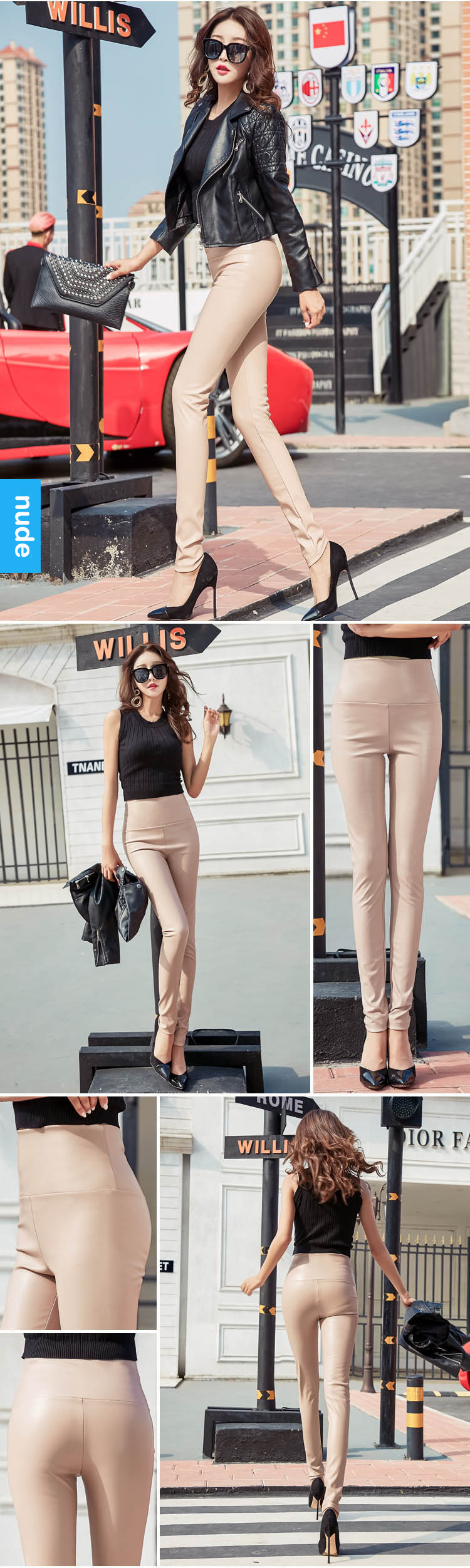 Thin Velvet PU Leather Pants Sexy Elastic Stretch