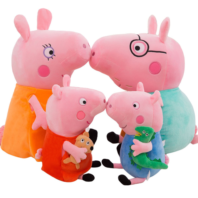 4pcs Peppa Pig George Plush family Stuffed Toys Big Size Gift Package Pig Family Stuffed Animals Plush Toys doll gift free shipping new 4 pcs set family pig plush doll soft toy father and mother pig and george 7 8 19 30 cm retail page 2