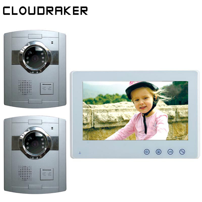 CLOUDRAKER 10 Sistema di Video Citofono del Campanello 1x Monitor con 2x Argento Wired Telefono Del Portello Della Macchina Fotografica Video CitofonoCLOUDRAKER 10 Sistema di Video Citofono del Campanello 1x Monitor con 2x Argento Wired Telefono Del Portello Della Macchina Fotografica Video Citofono