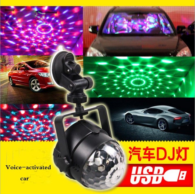 Outdoor Car Entertainment DJ Lights Sound Control LED Crystal Magic Ball USB Car Charging Cool Stage Lights Colorful Disco Ball