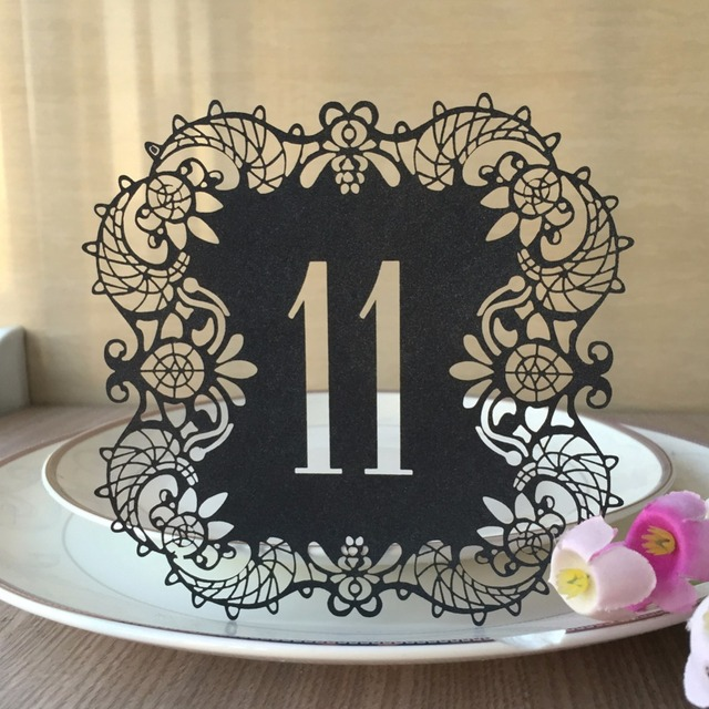 10pcs Glossy metal pearl paper Wedding Table Number Table Cards