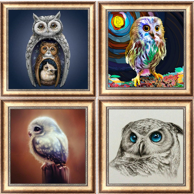 Full Circle Diamond Mosaic Cartoon Owl 5D DIY  Nighthawk Embroidered Cross Rhinestone Christmas