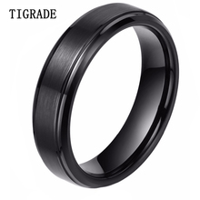 Tigrade 6mm Black Tungsten Men Ring Carbide Engagement Wedding Band Male Jewelry Women Couple Rings anel masculino