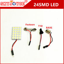 2 sets led 24SMD 5050 Panel led car T10 BA9S Festoon Dome Interior Lamp w5w t4w bulbs Car Light source led parking car styling(China)