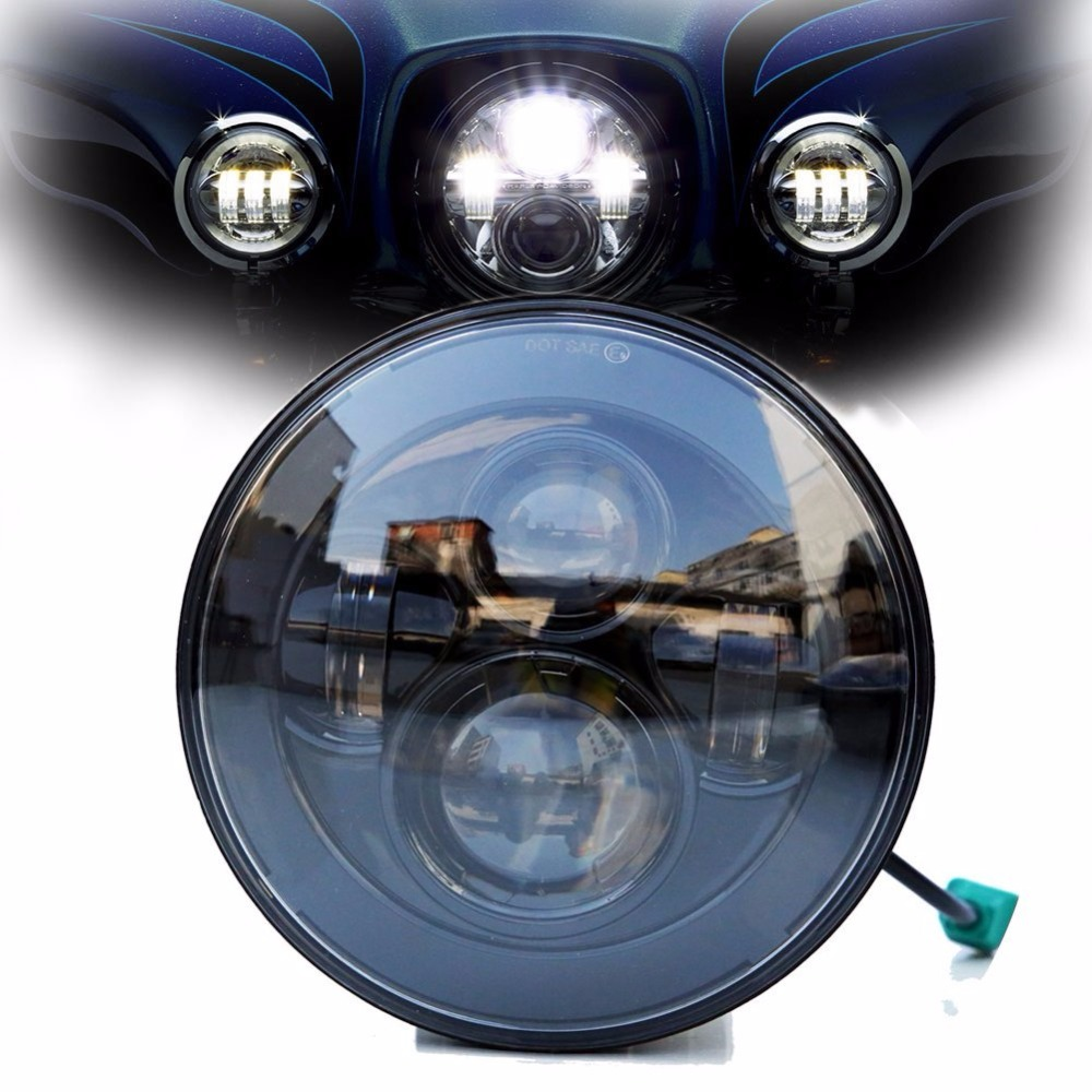 ФОТО Black / Chrome Round 7 inch led motorcycle headlight for motorcycle headlamp motorbike driving light with DOT certificate