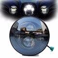 Negro/Cromo Redondo de 7 pulgadas llevó la linterna de la motocicleta para la motocicleta faro moto luz de conducción con certificado DOT