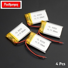 POSTHUMAN Polymer Lithium Battery 3.7 V 402030 042030 200mah Rechargeable Batteries for MP3 MP4 Watches Toy Cell Phone GPS polymer lithium battery 3 7v 602535 062535 600mah mp3 mp4 gps battery rechargeable batteries