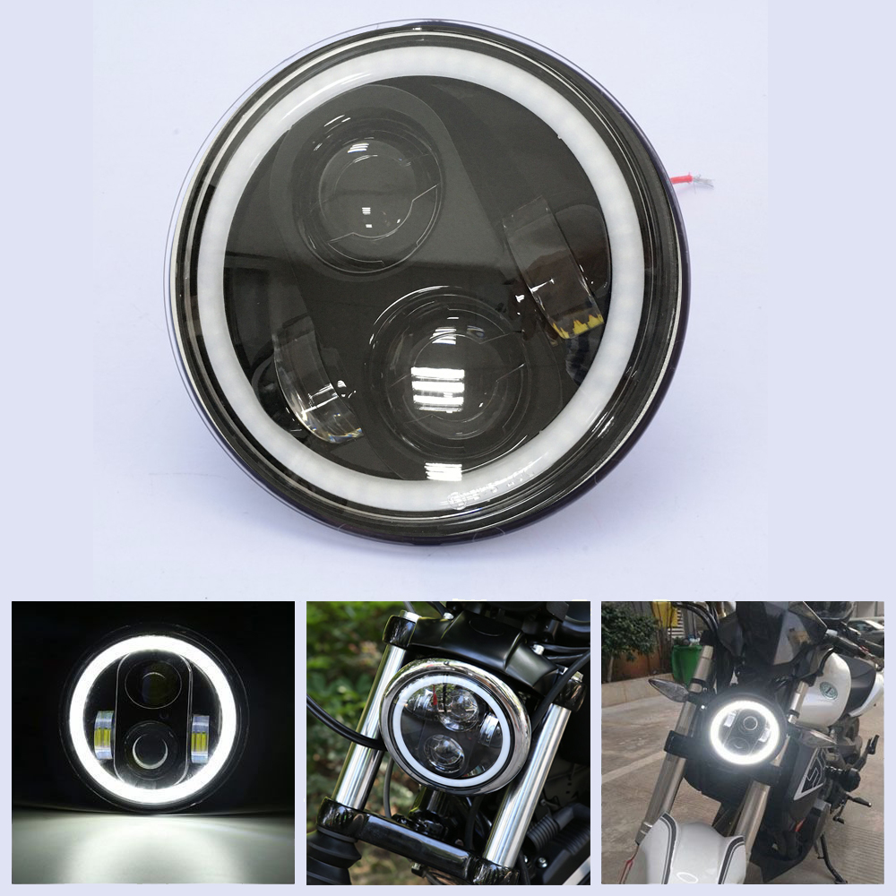 Motorcycle 5.75 inch Headlight White Color Angel eye DRL Hi/Lo Beam 5 3/4 inch Headlamp Round LED Light for Harley Davidson 5 3 4 led headlight for triumph rocket iii 3