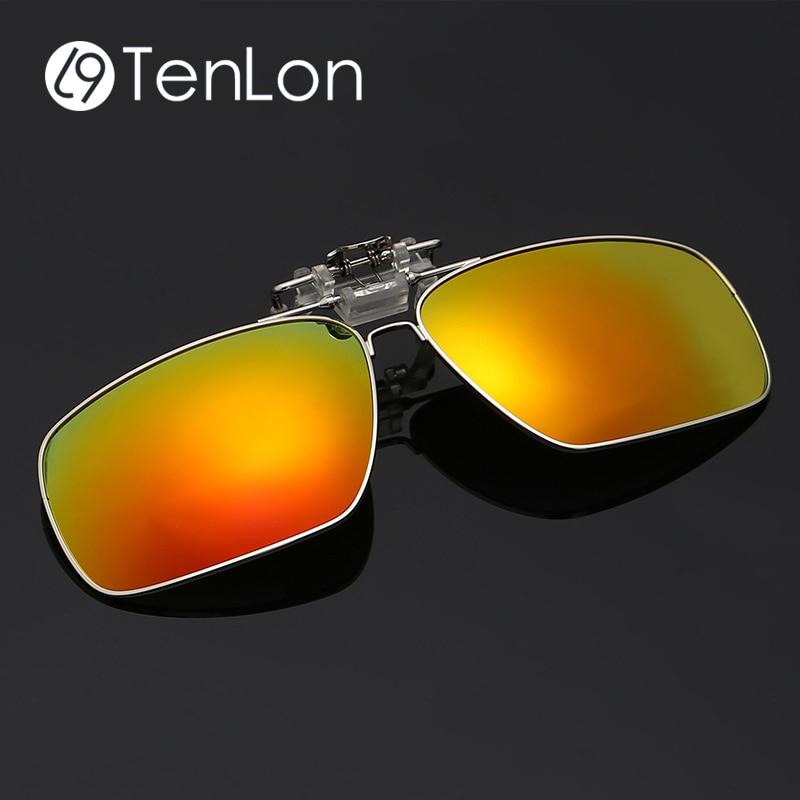 Tenlon Glasses Silver Frame Polarized Clip On Sungls