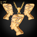 U7 Egypt Queen Pendant Necklace Earrings Set Vintage Jewelry Wholesale Gold Plated Egyptian Jewelry Set S616